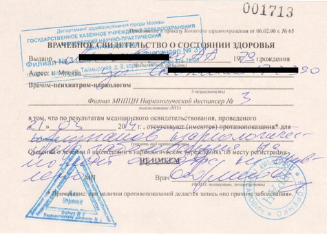 Получить справку от нарколога для водительских прав в Москве Перово